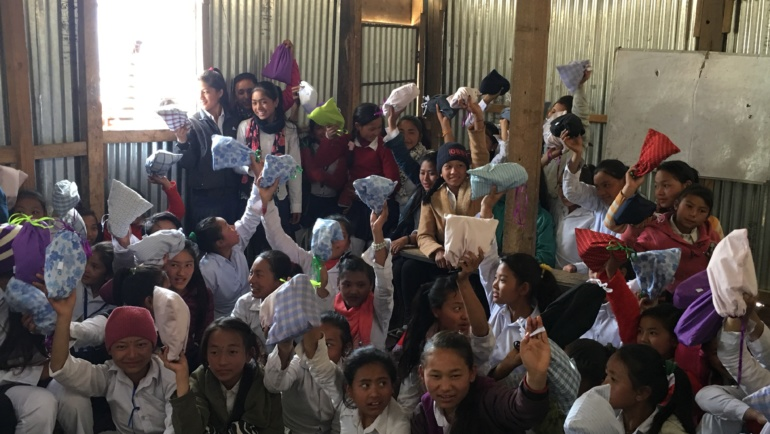 Two Schools In Sindhupalchok Receive Sanitary Kits